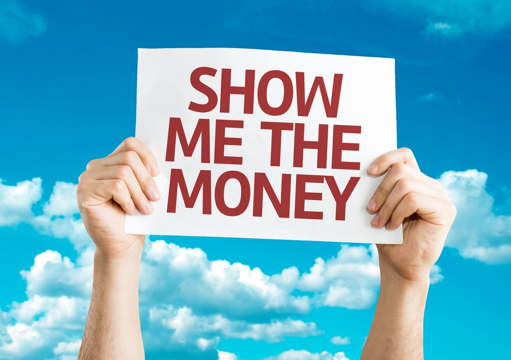 Show Me The Money card with sky background