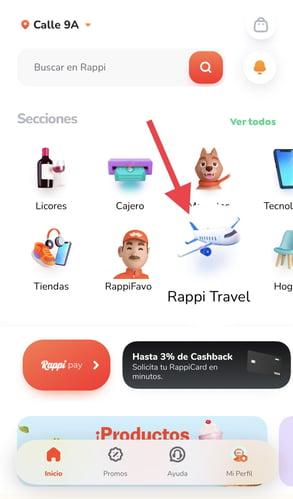 Sección de RappiTravel en la app