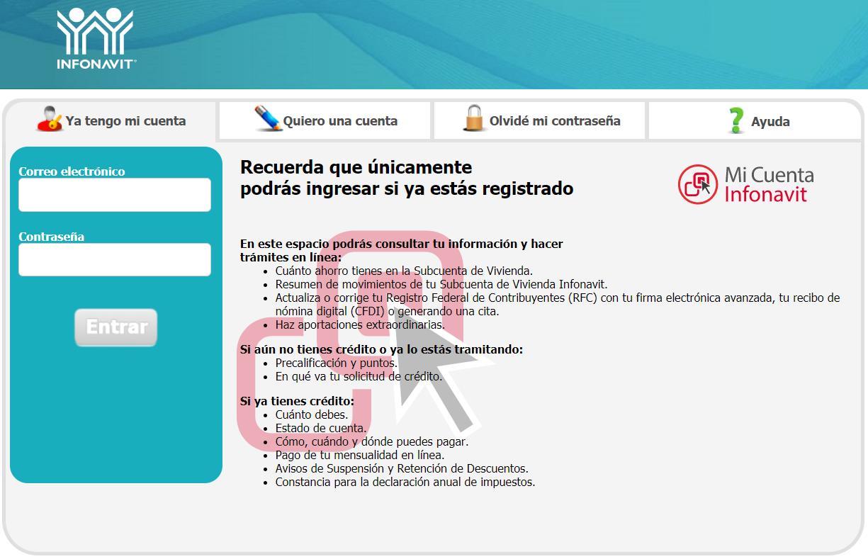 Portal Mi Cuenta Infonavit